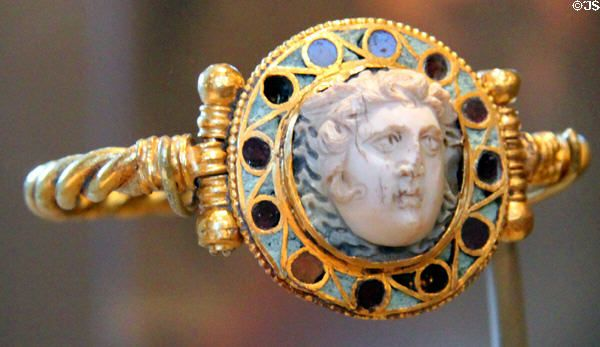 Roman cameo of medusa (1st or 2nd C AD) in Byzantine ring (5thC) at Museum of Fine Arts. Boston, MA.