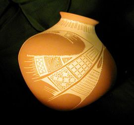 Mata Ortiz, near the ancient ruins of Casas Grandes, Mexico, is a small town famous for it's beautiful pottery. The potters of Mata Ortiz are inspired by the art of the ancient Paquime indians who lived near Mata Ortiz years ago.
