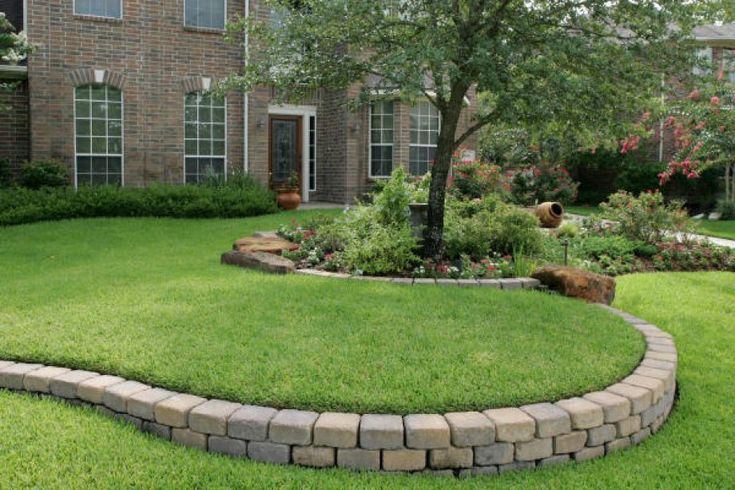 1251 best images about front yard landscaping on pinterest for Block wall landscape design