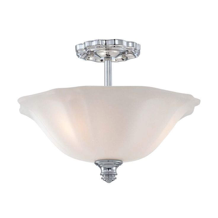 Semi-Flushmount Light with White Glass in Chrome Finish   6597-77   Destination Lighting