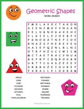 Geometric shapes for kids: Shapes vocabulary word search worksheet activity.
