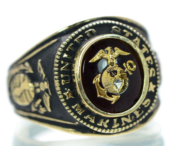 Made In Usa Men's Us Marine Corps Gold Plated Military Rings Size-9 '
