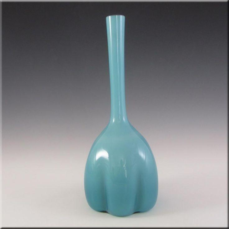 Elme 1970s Scandinavian Blue Cased Glass 'Melon-Form' Vase - £40.00