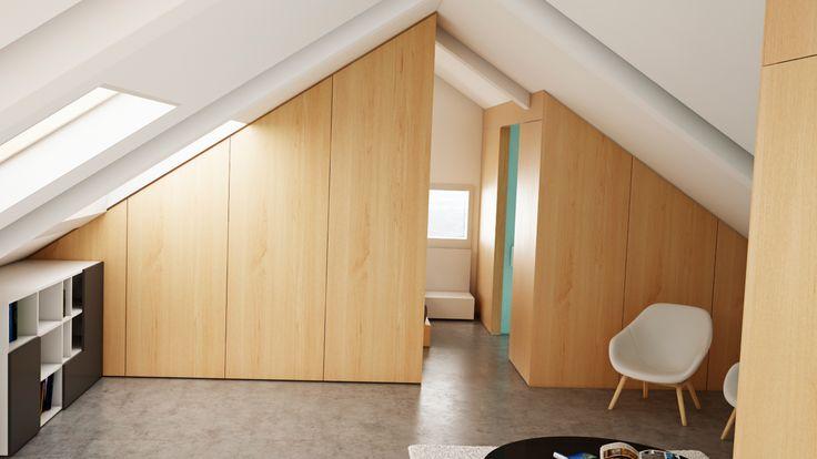 Ático Cangas / equipoeme estudio #urban #design #interiorismo #equipoeme #bajocubierta #renders #baño #diseño #dormitorio #salon
