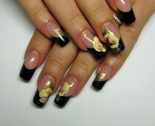 Black french nails with rose
