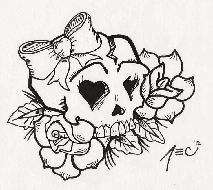 Girly Skull Tattoo by theADROCK.deviantart.com