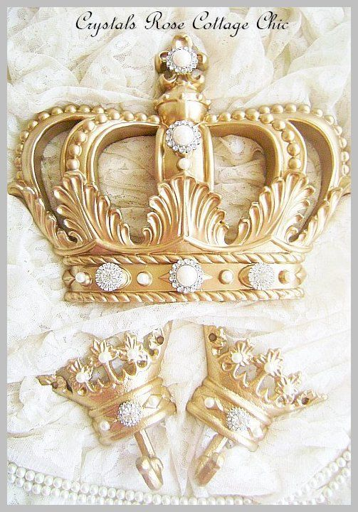 fleur de lis metallic gold bed crown canopy set with your choice of rhinestone or pearl bling color romantic home decor nursery photo prop - Yellow Canopy Decor