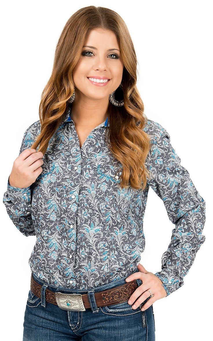 Panhandle Rough Stock Grey with Turquoise Paisley Long Sleeve Western Shirt | Cavender's