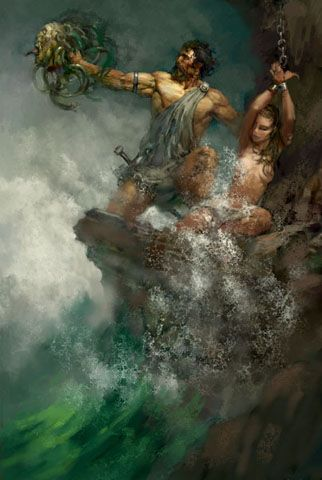 Perseus saving Andromeda from the Kraken by Justin Sweet ISN'T THIS AMAZING?  VERY FRANK FRAZETTA-LIKE