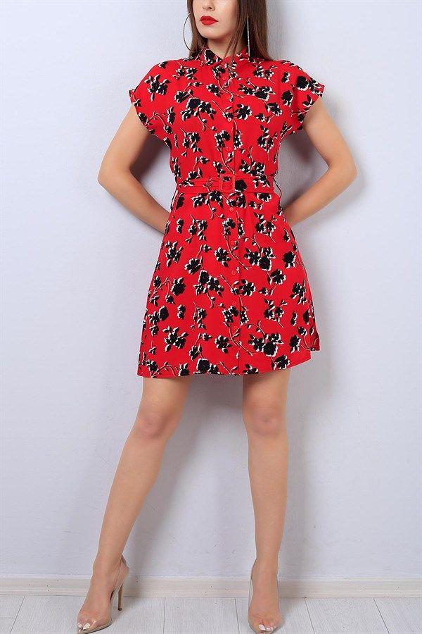 35 95 Tl Kirmizi Boydan Dugmeli Desenli Bayan Elbise 14178b Modamizbir Elbise Moda Stilleri Mankenler