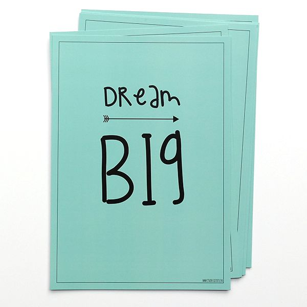 Poster te koop in de webshop: Dream big, in de kleur mint.