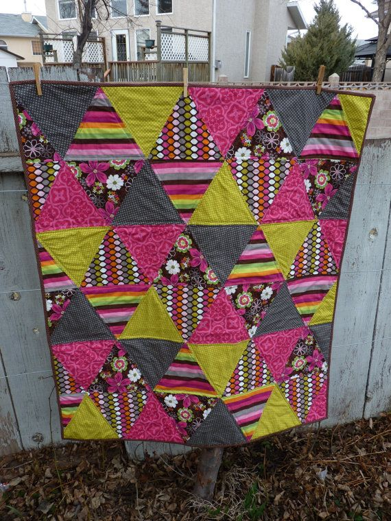 Modern/Triangle/Girls Crib Quilt on Etsy, $130.00 CAD