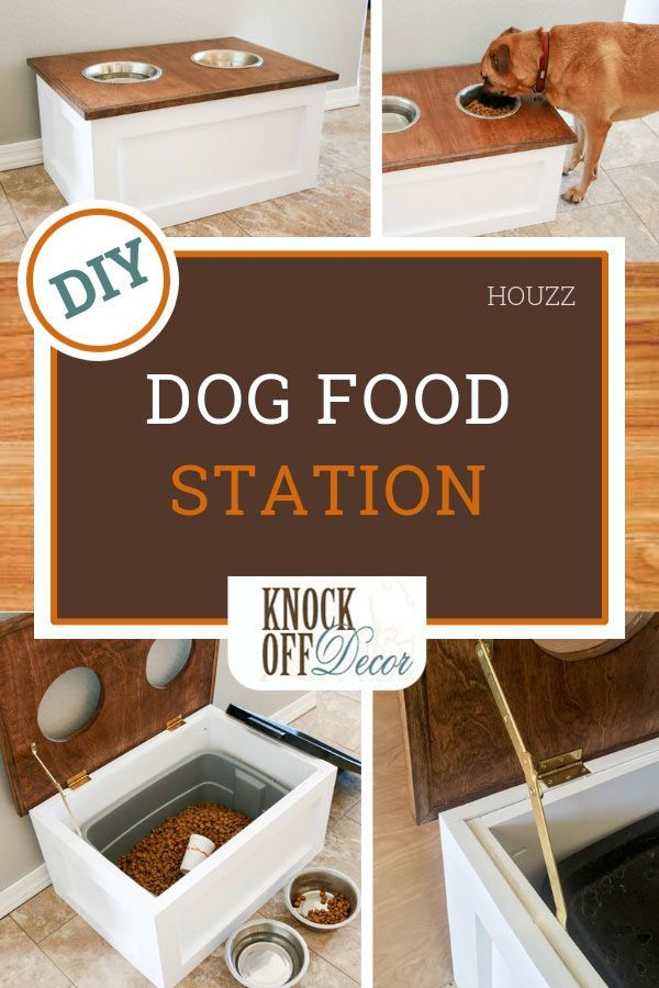Diy Pet Feeder Station With Storage Dog Food Storage Dog