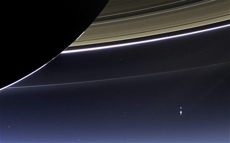 On Saturn's dark side, Earth photographed by Nasa Saturn probe.