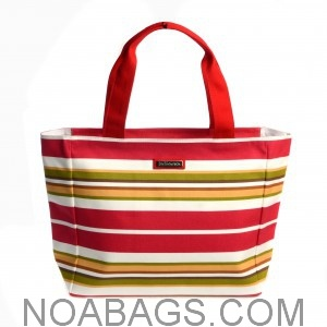 Jim Thompson Luxury Canvas Summer Bag Red Striped Multicolored