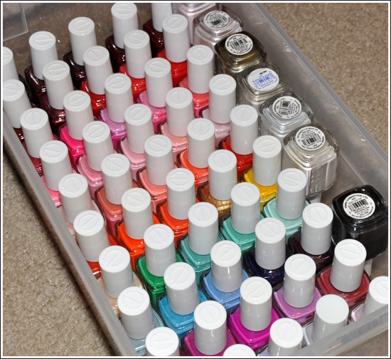 Storage for nail polish (by color and brand).