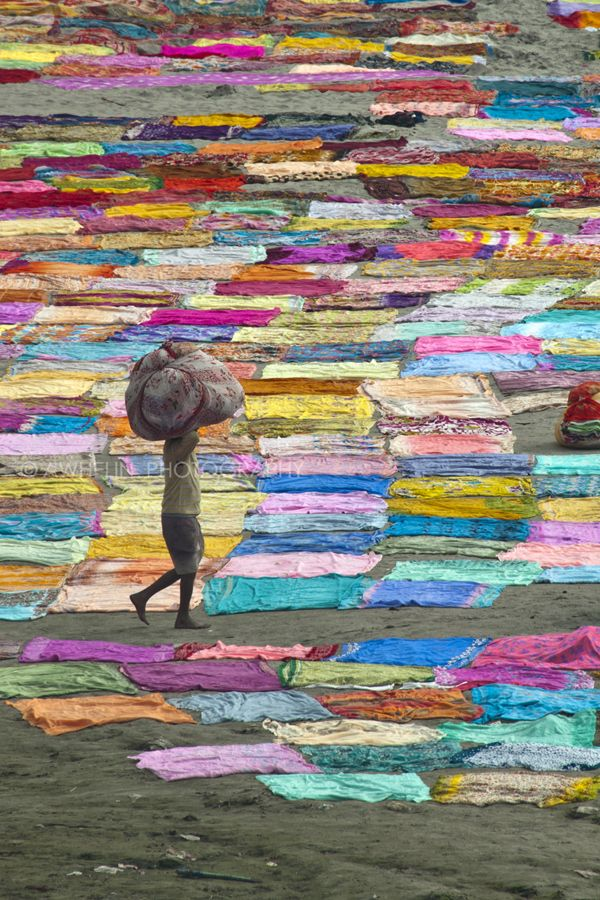 Dhobi wallah, a laundry worker at Yumuna River, a tributary of the Ganges, in Uttar Pradesh, India. Colorful saris are drying on the ground. by Awhelin