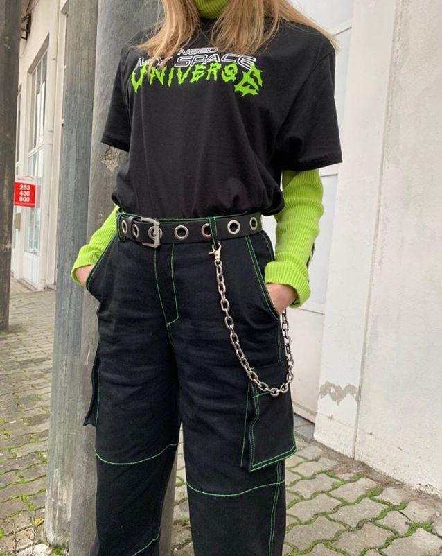 Neon stitch utility jeans