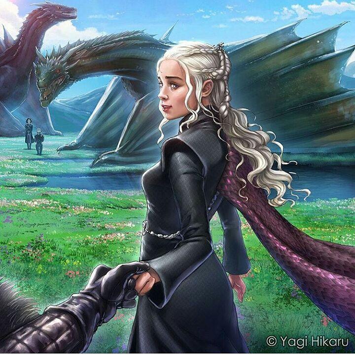 "1,311 Likes, 7 Comments - Game of Thrones (@art.of.ice.and.fire) on Instagram: ""Daenerys Targaryen - by @yagi.hikaru.art ° ° °  #daenerystargaryen #jonsnow #kitharrington…"""