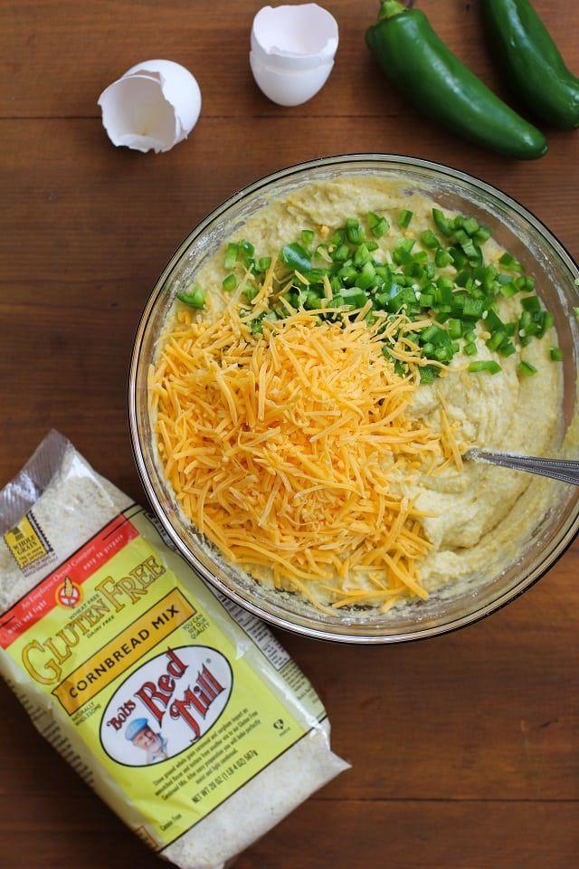 Gluten-Free Jalapeno Cheddar Cornbread Muffins | TheRoastedRoot.net #healthy #recipe @bobsredmill