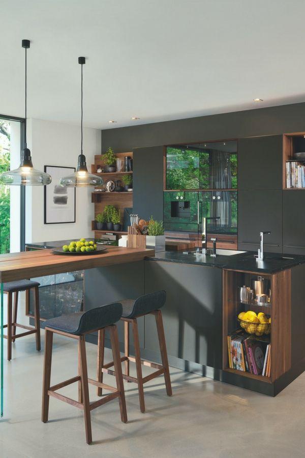 Cuisine moderne avec bar: 6 idées pour un comptoir de bar en bois, pierre et béton