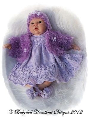 Vestido de invierno y Bolero establecen 19-22 pulgadas muñeca / patrón 0-3m baby-punto, renacido, gorrita tejida, cloero, sombrero desgarbado, diseños handknit babydoll
