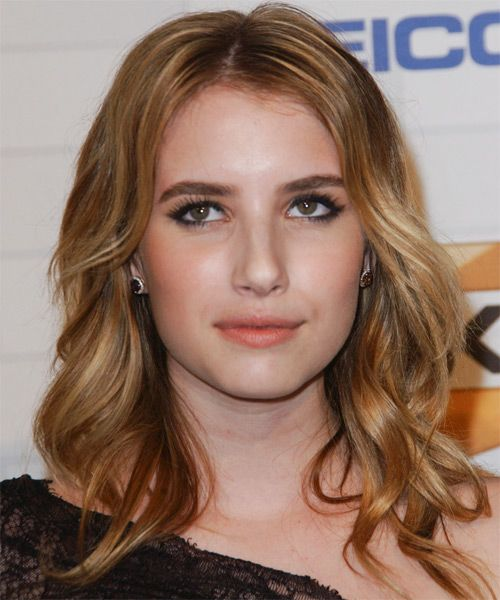Emma Roberts Medium Wavy Casual Hairstyle – Dark Copper Blonde Hair Color with Light Blonde Highlights