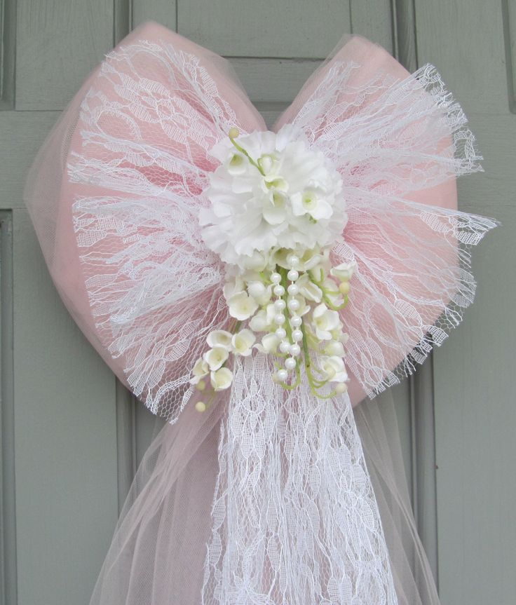 Wedding Pew Bows Pink Tulle with White Lace and Flowers