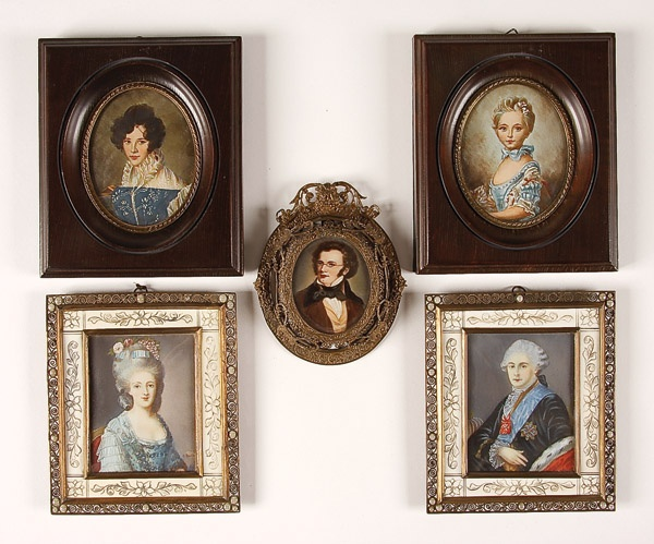 group of miniature portraits 20th century including marie antoinette and king louis xvi contained in matching gilt and ivory filigree frames with faux - Miniature Frames