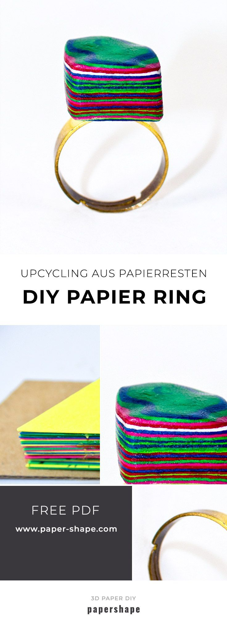 Make stylishen paper ring itself from paper leftovers (upcycling idea)