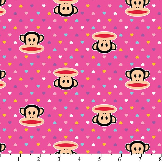 Paul Frank Monkey Monkeys Fabric with Multicolored Hearts Valentines Day on Pink
