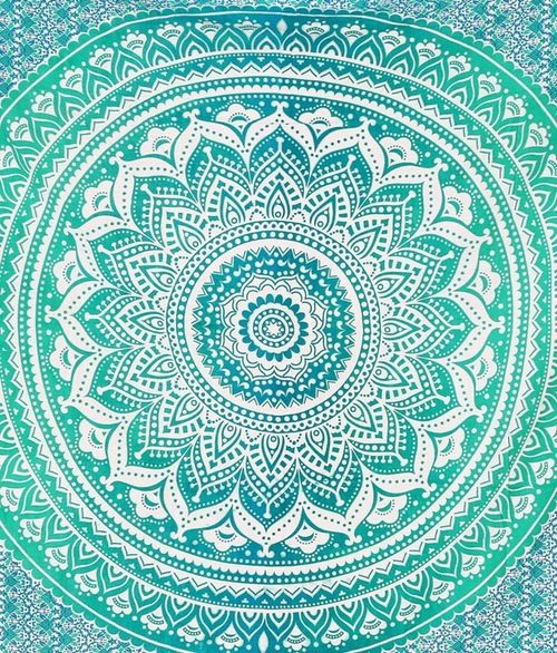 Image of 'Ombre Flourish' Large Green Tapestry or Bed Set