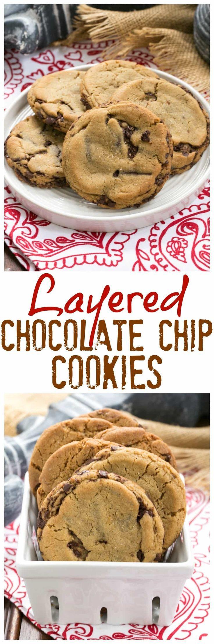 Layered Chocolate Chip Cookies | Dark Brown sugar and layers of bittersweet chocolate shards make these a one of a kind chocolate chip cookie! @lizzydo