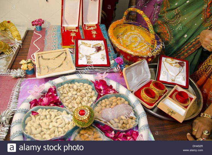 Dowry Gifts Jewellery Dry Fruits Decorative Packing For Indian Stock Photo, Royalty Free Image: 62172063 - Alamy
