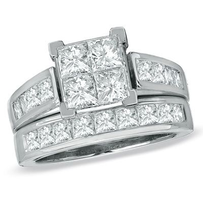 tw quad princess cut diamond bridal set in 14k white gold zales - Zales Wedding Rings Sets