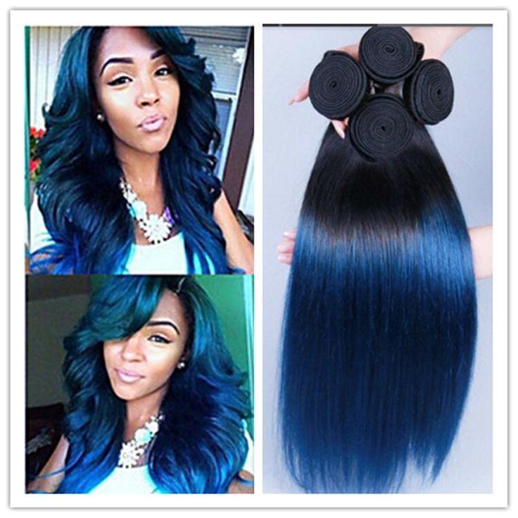 The 25 best blue hair extensions ideas on pinterest mermaid cheap 8a peruvian virgin straight ombre black and blue hair extensions 1b blue two tone pmusecretfo Gallery
