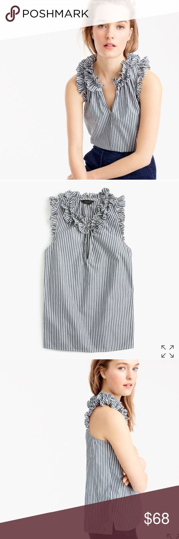 "J. Crew Ruffle Top in Navy Stripe, Size 14 26"" Long. The perfect shirt for work, weekends, wherever. With ruffles at the neck and arms, it's feminine and put together without being fussy. Cotton. Button placket. Machine wash J. Crew Tops Blouses"
