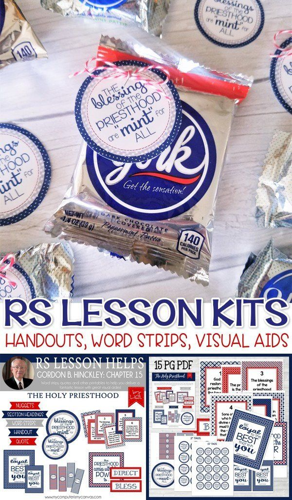 Printable handouts and Lesson Kits for RS Relief Society Lessons, Gordon B. Hinckley! Priesthood handout with York Patties - so cute! #mycomputerismycanvas