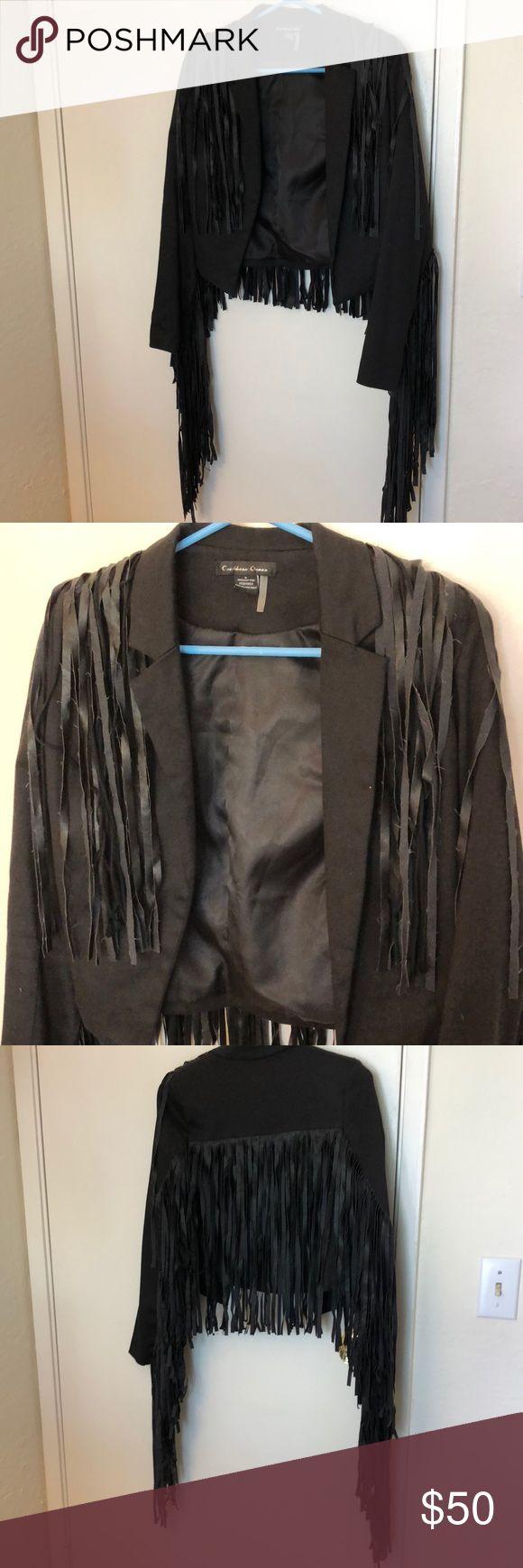 Caribbean queen leather fringe blazer jacket Caribbean queen leather fringe blazer jacket. 100% cotton size small caribbean queen Jackets & Coats Blazers