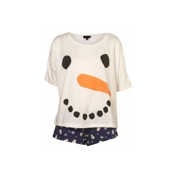 Pyjama TOPSHOP Snowman en coton - Catalogue - Be.com ❤ liked on Polyvore featuring intimates, sleepwear, pajamas, pyjama, topshop pyjamas, bee pajamas and topshop pjs