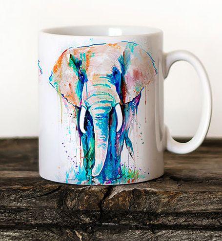 Great Elephant Mug Watercolor Ceramic Mug Elephant Unique Gift Coffee Mug Animal  Mug Tea Cup Art Illustration Cool Kitchen Art Printed Mug
