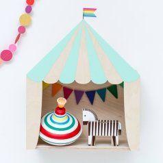 Kinderzimmer Regal 'Zirkuszelt' 30x36cm, mint/Naturholz