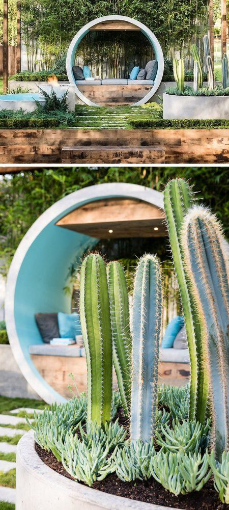 Jardiniere din beton pentru o gradina cu multa vegetatie