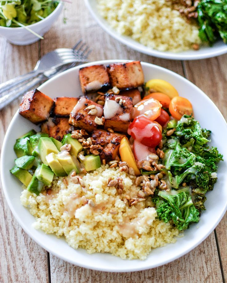 Kale and Couscous Tofu Bowls with Orange Tahini Dressing ...