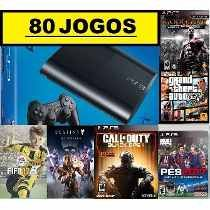 Ps3 Super Slim 500 Gb + 80 Jogos Originais + Fifa17 + Gta 5