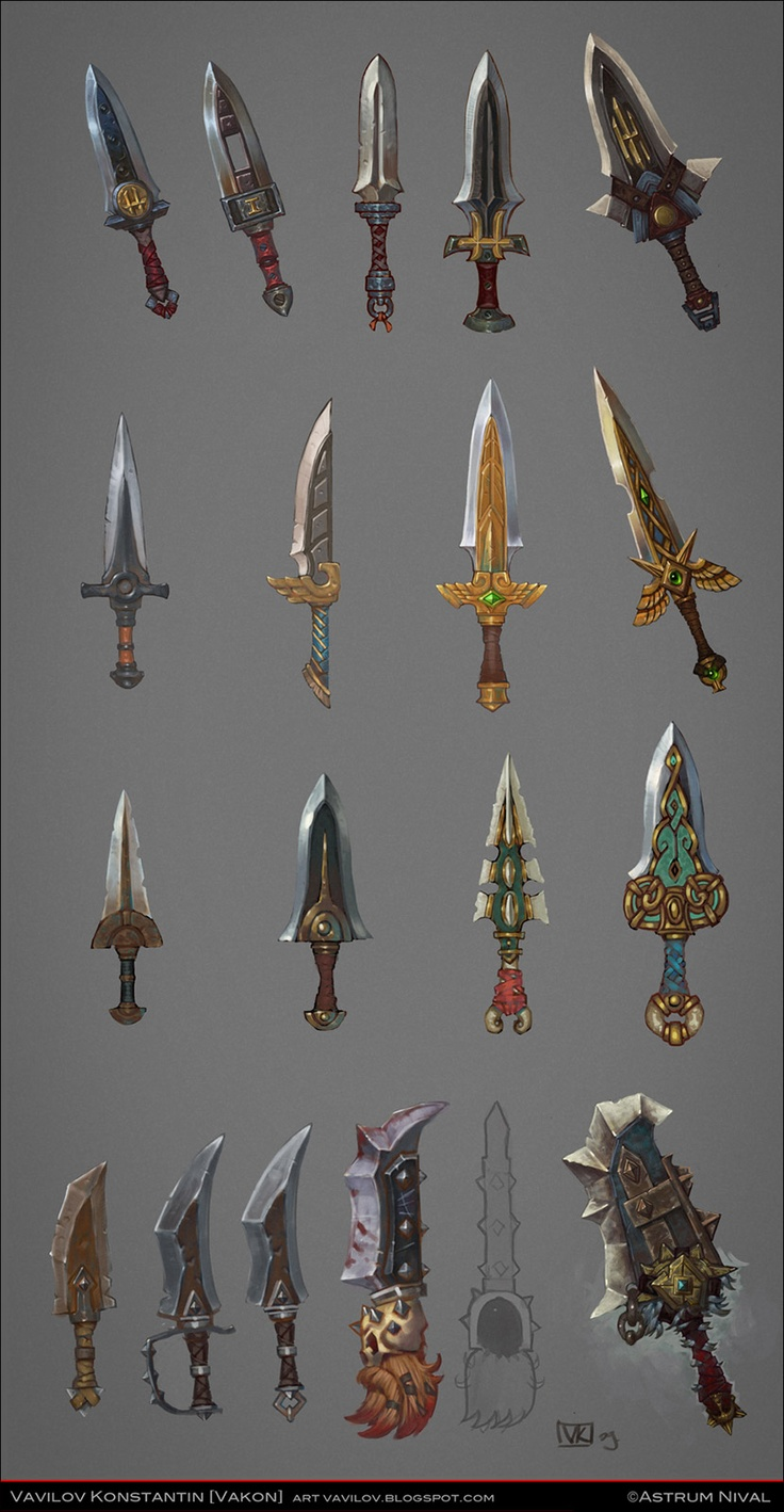 I really like the simplicity of this selection of different daggers.