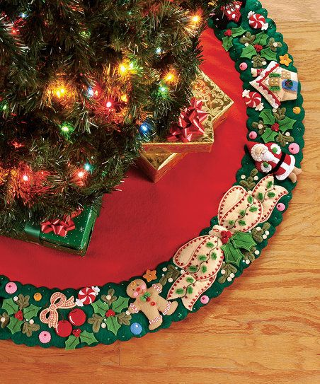 Dress up the tree and provide a soft landing spot for presents with the handmade tree skirt crafted from this kit. Form meets function as this piece protects floors and adds a cheery homemade touch to seasonal décor.