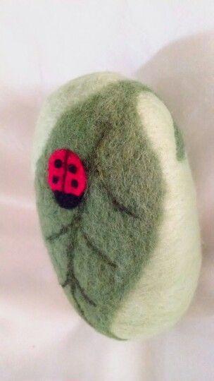 Ladybug on Leaf Felted Soap