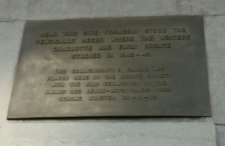 Plaque in Brussels commemorating the site of the Pensionnat Heger where Charlotte and Emily Bronte studied.