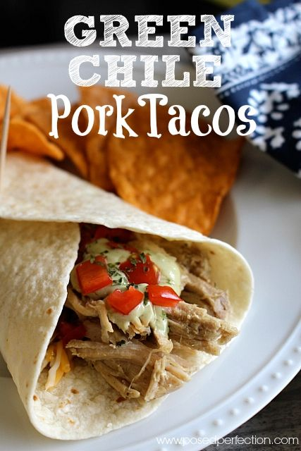 These Green Chile Pork Tacos/Burritos explode with flavor and couldn't be easier to make! Crockpot Heaven!